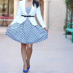Dots + Belted Blazer + Blue Suede Shoes  #vote or share your preferred looks on lolobu/vote