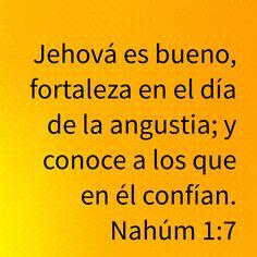 Jehová es bueno, fortaleza en el día de la angustia; y conoce a los que en él confían. (Nahúm 1:7 RVR1960)