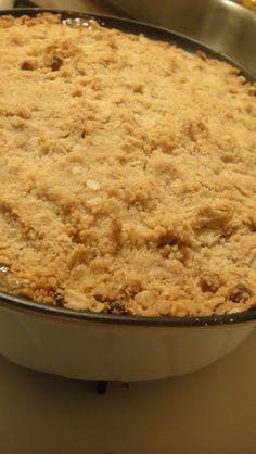 "Apple Crisp...look at the ""old"" looking pan it's in...gotta be goood!"