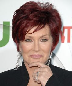 Sharon Osbourne - Short, layered, a vibrant (but not 'wacky') red shade. Again, a gentle side fringe.
