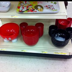 Mickey Serving Bowls at Target - I got the black one on the right & the red one with feet on the left & some cute spreaders for Christmas!