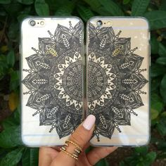 The left half of the Mandalas Set - this clear mandala case wraps perfectly around your phone. Check out the Mandalas Set for you and your better half! Material: TPU Comes wrapped and ready to gift in Iphone 6, Coque Iphone, Ipod Cases, Cute Phone Cases, Bff Cases, Best Friend Goals, Best Friends, Mandala Design, Pochette Portable