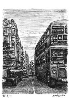 London Taxi and Bus at Haymarket - drawings and paintings by Stephen Wiltshire MBE