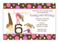 Gymnastics Girl Birthday Party Invitation With Picture or Without (U Print)..Boy available in this design.. $14.00, via Etsy.