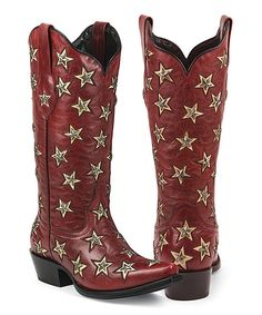 Black Star Red Brazos Snip Toe Leather Cowboy Boot