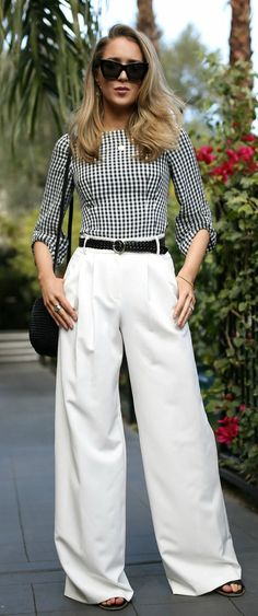 Packing For Palm Springs // Quarter sleeve gingham blouse, high-waisted white flare pants, braided waist belt, oversized cat-eye sunglasses {Milly, Tibi, Clare V., what to pack, spring style, casual workwear outfits, chic fashion blogger}