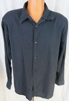 """""""CALVIN KLEIN"""" MENS XL NAVY BLUE BUTTON FRONT SHIRT - PLEASE SEE ALL PICTURES"""