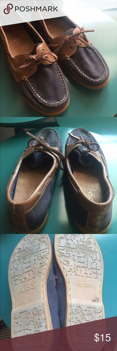 Aldo size 8 canvas boat shoes VGUC - one pair has leather laces that are longer, can be trimmed so lengths will match. If I could describe the size on these shoes I'd say 8 1/4 - they fit snug on my size 8 1/2 feet Aldo Shoes Sneakers