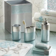 Teal and brown bath accessories welcome industrial gala blue bath collection from anna 39 s linens for Anna s linens bathroom accessories
