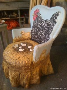 Декупаж и роспись старого стула. Идеи]]]]''' '' DIY Paint your fabric covered chair with roosters and a nest of chicks