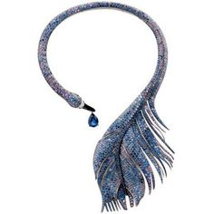 Boucheron Swan Feather necklace;  blue and coloured sapphires