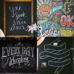 tinta lousa desenhos parede inspiração frases tipográficas