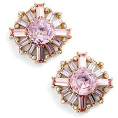 kate spade new york crystal stud earrings (16.910 HUF) ❤ liked on Polyvore featuring jewelry, earrings, серьги, pink multi, kate spade jewelry, pearl earrings, pink earrings, post earrings and stud earring set