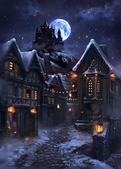 Lights in a Winter Night by Nele-Diel. on - Lights in a Winter Night by Nele-Diel.deviant… on - : Lights in a Winter Night by Nele-Diel. on - Lights in a Winter Night by Nele-Diel. Fantasy Village, Fantasy City, New Fantasy, Fantasy Castle, Fantasy Places, Fantasy World, Dark Fantasy, Illustration Nocturne, Night Illustration