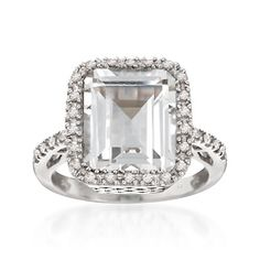 7.00 Carat White Topaz and .25 ct. t.w. Diamond Ring in Sterling Silver | #817331 @ ross-simons.com