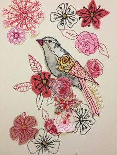 I love mixed media, Pretty in Pink bird- mixed media original artwork-stitched Freehand Machine Embroidery, Bird Embroidery, Free Motion Embroidery, Embroidery Stitches, Thread Art, Thread Painting, Painting Collage, Painting Abstract, Acrylic Paintings