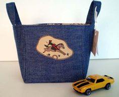 upcycled denim and cotton storage basket by VLouTextiles on Etsy, $15.00