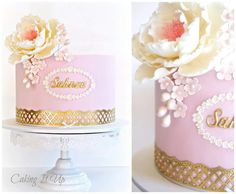 Beautiful pink cake with gold accent and flowers