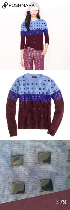 J.crew collection / beaded colorblock sweater Hundreds of enameled metal beads in three different shapes and sizes—hand applied in a graphic grid pattern for maximum impact—give this colorblock crewneck (spun from an extra-plush wool blend) the perfect balance of soft and bold.  Viscose/nylon/wool/angora in a 7-gauge knit. Long sleeves. Rib trim at neck, cuffs and hem. Hits at hip. Dry clean. Import. Item 13609. J. Crew Sweaters Crew & Scoop Necks