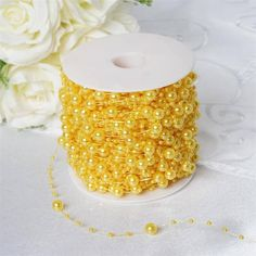 62 FT Yellow Pearl Garland String for Wedding Bridal Corsages Decorations Party Decoration, Centerpiece Decorations, Wedding Decorations, Pearl Garland, Beaded Garland, Yellow Pearl, Bouquet Wrap, Clear Glass Vases, Decorating Supplies