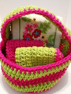 Dishcloths, Dish Towels all wrapped in a crochet Gift Basket