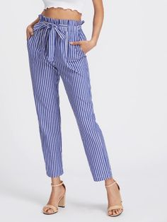 b7f82f07d9 Shop Self Tie Frill Waist Pinstripe Pants online. SHEIN offers Self Tie  Frill Waist Pinstripe Pants & more to fit your fashionable needs.