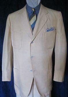 "Cream shantung silk, made by Stadler & Stadler, one of the so-called ""New York Twelve"" top tailors of the 1920s and '30s. (The other eleven were H. Harris, Wetzel, Twyeffort, Bernard Weatherill, Emsley, Schanz, F.L. Dunne, Dunhill Tailors, Rosenthal-Maretz, Earl Benham, and Pat Sylvestri.)"