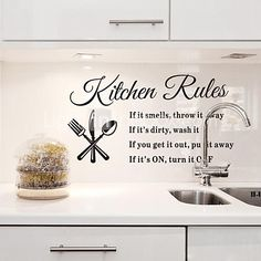 Wall Stickers Wall Decals, Kitchen Rules English Words & Quotes PVC Wall Stickers - USD $9.99