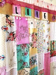 shabby chic curtain LOVE bohemian decor boho curtain boutique hippiewild room divider closet curtain door vtg linen walk thru burlap