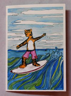 Image of Surfing Tiger Greetings Card