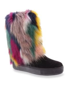 Penny Loves Kenny Women's Airbrush Boot - Black Faux Fur - 13 Wide