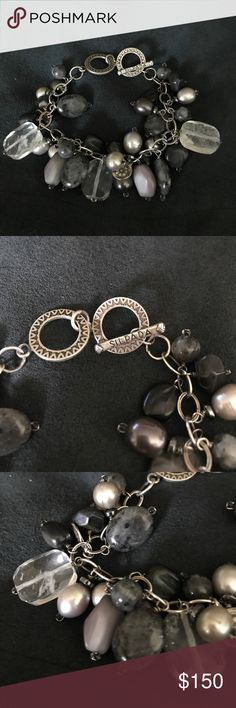 """Sterling Silver (.925) bracelet with stones Sterling Silver (.925) bracelet with multi stone design (quartz, howelite , pearls and other gem stones), Exceptionally crafted.  Sizes up to 8"""". Silpada Silpada Jewelry Bracelets"""