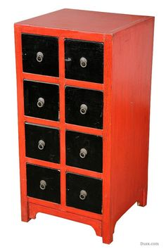 Lou Lan Red Black 8 Drawer Cabinet: For sale at www.DUSX.com