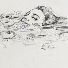 art inspo connie-lim: Ein kleines Gekritzel f - art Cool Art Drawings, Pencil Art Drawings, Art Drawings Sketches, Drawing Faces, Sketch Art, Sketch Ideas, Drawing Designs, Dark Drawings, Art Faces