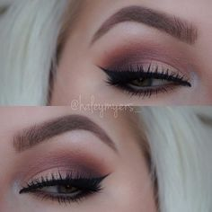 Beautiful look @haleymyers_  BROWS: #Dipbrow in Soft Brown  EYES: single shadows in Soft Peach, Dusty Rose, Aubergine, & Buttery, @makeupgeekcosmetics Bada Bing in the inner corner and under brow  LASHES: @houseoflashes Starlet Lashes  #Anastasiabeverlyhills #anastasiabrows