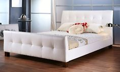 Full or Queen Size Grid-Tufted Upholstered Platform Bed in White