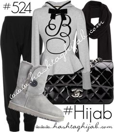 Hashtag Hijab Outfit #524 van hashtaghijab met jogger pantsGray hoody€94-trendcy.comATM by Anthony Thomas Melillo jogger pants€210-modaoperandi.comUGG Australia grey bootie€205-selfridges.comChanel black quilted shoulder bag€2.700-madisonavenuecouture.comComptoir Des Cotonniers black shawl€4.130-comptoirdescotonniers.co.uk Muslim Fashion, Hijab Fashion, Women's Fashion, Hashtag Hijab, Modest Outfits, Cute Outfits, Modest Clothing, Teenage Outfits For School, How To Wear Hijab