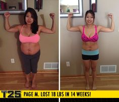 "Page M. lost 18 lbs in 14 weeks with Focus T25!    ""I'm the smallest I've been since high school and I've never been this toned with any other program! T25 is my soulmate workout!"""