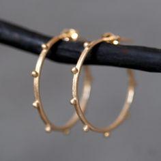 so cute! small beaded hoop earrings in 14k gold