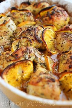 HerbCitrusRoastedChicken (6)- Add potatoes, juice two oranges and only use lemon slices on bottom of pan.  Make a paste of fresh garlic and 1 tsp of salt. Use cooking directions for lemon chicken.