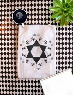 """Men's Organic cotton t-shirt   """"Geometric dogs in a star formation""""   Fairtrade clothing   Men's shirt   White"""