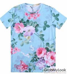 GrabMyLook Blue Vintage Roses Flower Floral Mens Short Sleeves T Shirt