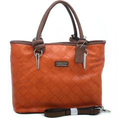 Dasein Women's Chic Weave Texture Fashion Tote with Knotted Strap - Orange/Coffee