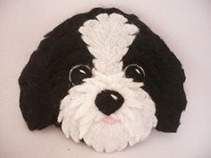 Dog ornament - felt ornament - Shih tzu dog black and white - personalized dog ornament  Do you like dogs? This is Pupi. This doggie belongs to the race