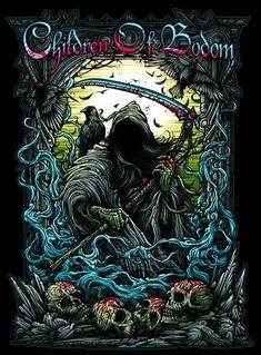 Children Of Bodom, Art Children, Heavy Metal Art, Heavy Metal Bands, Dark Artwork, Metal Artwork, Band Posters, Rock Posters, Metallica