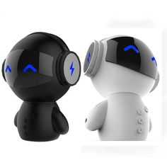 BLACK Mini Cute Robot Shape Bluetooth Speaker with Power Bank Multifunction Noise Cancelling Bass