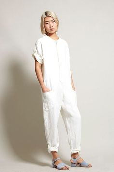 No.6 Wallace Jumpsuit in White Linen