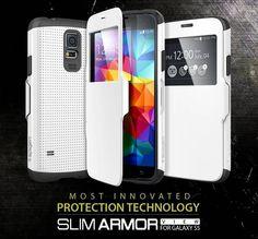 Capa para Galaxy S5 Slim Armor Spigen view o melhor case com proteção completa e função View. Este é imbatível em proteção,preço e é Premium TOP.