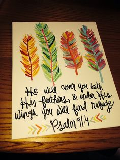 Psalm 91:4 canvas by paintedhartstrings on Etsy