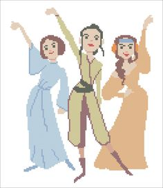 BOGO FREE! Star Wars Princess Force Awakens characters Leia Padmé Amidala Rey Cross Stitch Pattern - pdf pattern instant download #90 by Rainbowstitchcross on Etsy